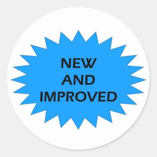NEW AND IMPROVED Blue Star Round Sticker | Zazzle