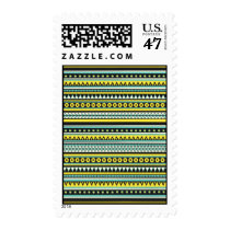 aztec, andes, tribal, vintage, pattern, funny, art, stamp, ethnic, fashion, mayan, geometric, decorative, abstract, retro, trendy, chic, fun, postage, Stamp with custom graphic design
