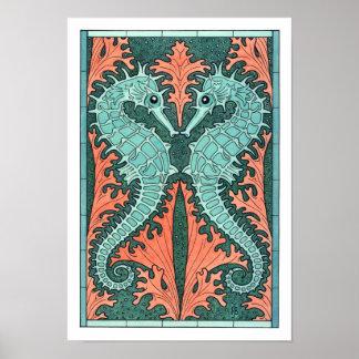 NEW! Art Nouveau Seahorses Poster