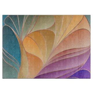 New Art Nouveau Teal Apricot Glass Cutting Board