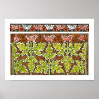 NEW! Art Nouveau Wood Anemone Poster