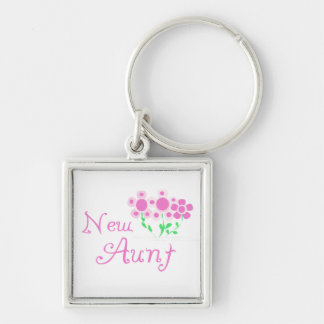 New Aunt Pink Flowers T-shirts and Gifts Keychain