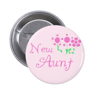 New Aunt Pink Flowers Tshirts and Gifts Pinback Button