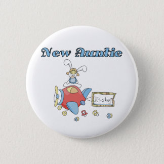 New Auntie - Airplane Tshirts and Gifts Pinback Button