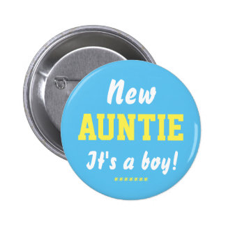 New Auntie boy baby button