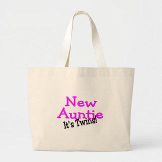 New Auntie Of Twins Jumbo Tote Bag