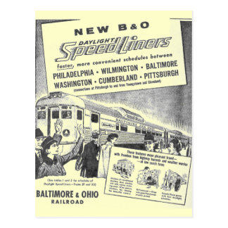 New B&O Budd Built Daylight Speedliners Postcard