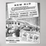 New B&O Budd Built Daylight Speedliners  Posters Poster