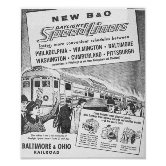 New B&O Budd Built Daylight Speedliners  Posters