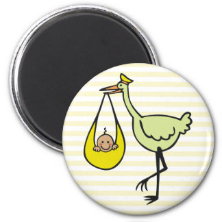 New Baby and Green Stork 2 Inch Round Magnet