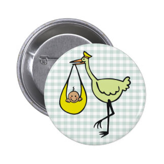 New Baby and Green Stork Button
