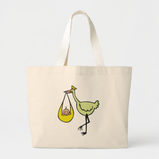 New Baby and Green Stork Large Tote Bag