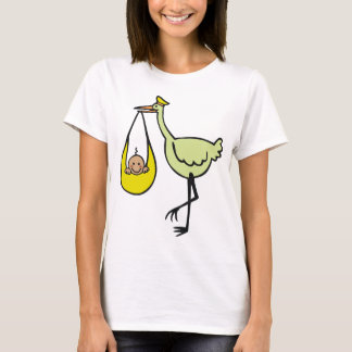 New Baby and Green Stork T-Shirt