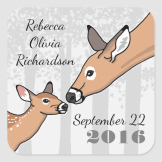 New Baby Announcement Deer and Fawn Personalized Square Sticker