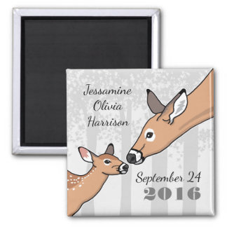 New Baby Announcement Doe and Fawn Personalized 2 Inch Square Magnet