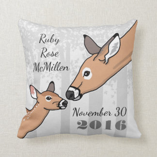 New Baby Announcement Doe and Fawn Personalized Throw Pillow