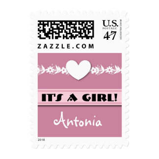 New Baby Announcement for Girl Heart Flowers A03 Postage