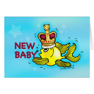 New Baby Announcement lucky goldfish wearing crown