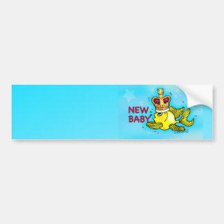 New Baby Announcement lucky goldfish wearing crown Bumper Sticker