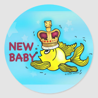 New Baby Announcement lucky goldfish wearing crown Classic Round Sticker