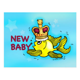New Baby Announcement lucky goldfish wearing crown Postcard
