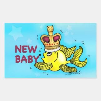 New Baby Announcement lucky goldfish wearing crown Rectangular Sticker