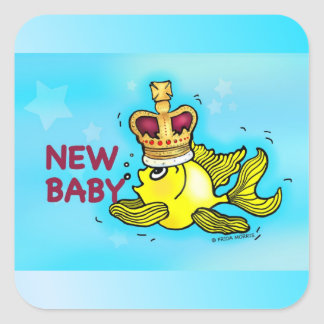 New Baby Announcement lucky goldfish wearing crown Square Sticker