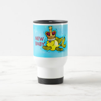 New Baby Announcement lucky goldfish wearing crown Travel Mug
