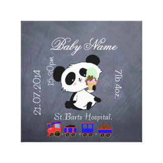 New Baby Announcement PANDA Baby Canvas Print