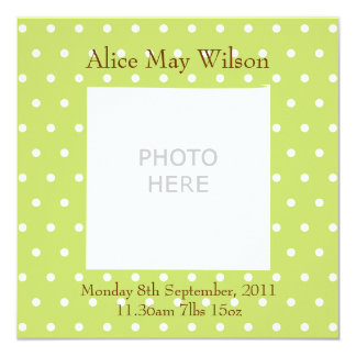 New Baby announcement personalised photo upload 13 Cm X 13 Cm Square Invitation Card