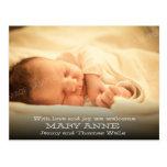 New Baby Announcement (white text, horizontal) Postcard