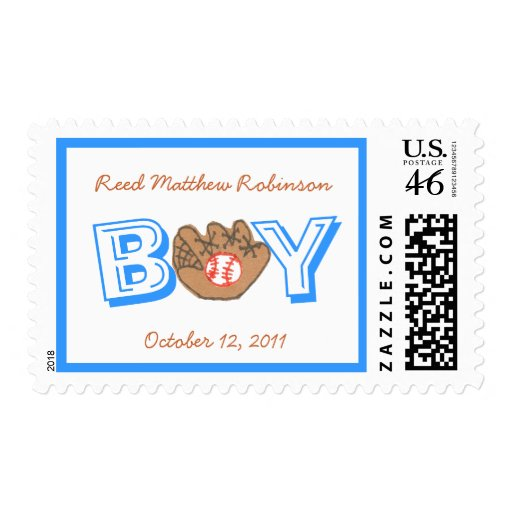 New baby -- baby boy personalized baseball stamp