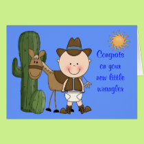 New Baby Boy and Pony Congratulations - Western Card