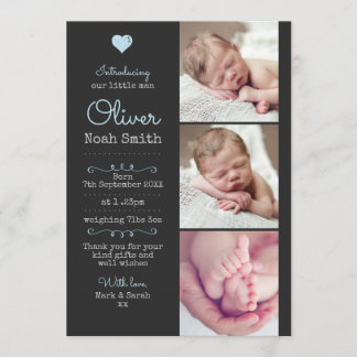 New baby boy announcement/thank you card A5
