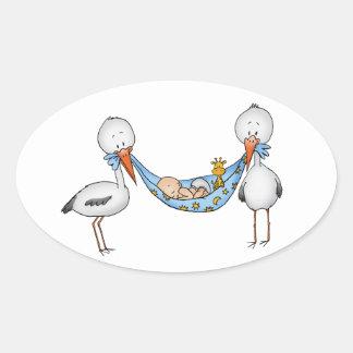 New Baby Boy - Baby Shower Gift Oval Sticker