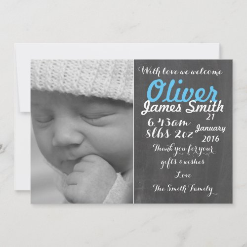 New Baby Boy Birth Announcement CardPersonalised
