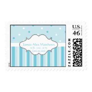New Baby Boy Birth Date Postage Stamps