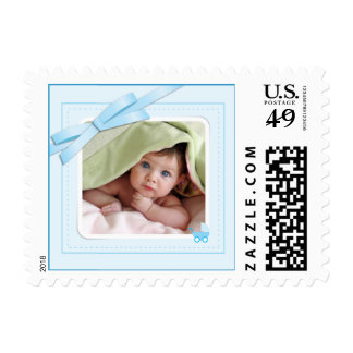 New baby boy blue photo announcement Postage