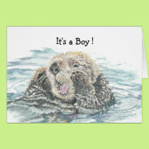 New Baby Boy Congrats Humour  Cute Excited Otter Card