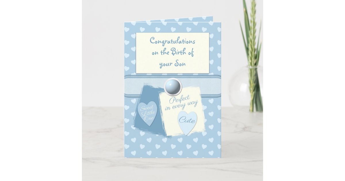 new baby boy congratulations blue card