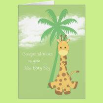 New baby boy congratulations blue giraffe card