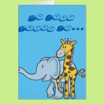 New Baby Boy Giraffe and Elephant Card