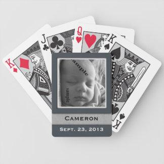 New Baby Boy Keepsake Birthdate & Photo Bicycle Playing Cards