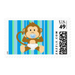 New Baby Boy Monkey Blue Green Striped Stamp