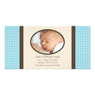 New Baby Boy Pattern Baby Birth Photo Card