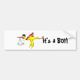 New baby boy Peeing on the stork! Bumper Sticker