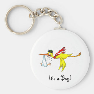 New baby boy Peeing on the stork! Keychain