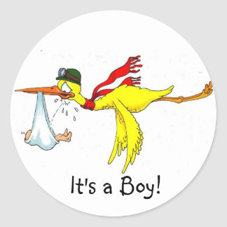 New baby boy Peeing on the stork! Classic Round Sticker