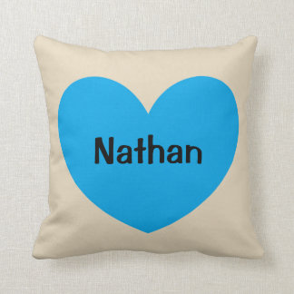 New Baby Boy Personalized Blue Heart with Name Throw Pillow