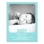 "New Baby Boy Photo Flat Announcement 4.25"" X 5.5"" Invitation Card"
